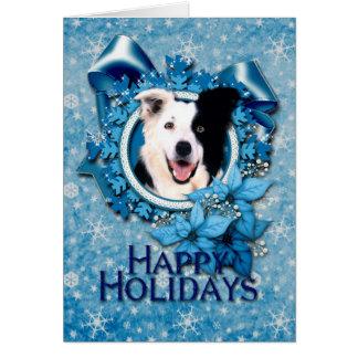 Christmas - Blue Snowflakes - Border Collie Greeting Card