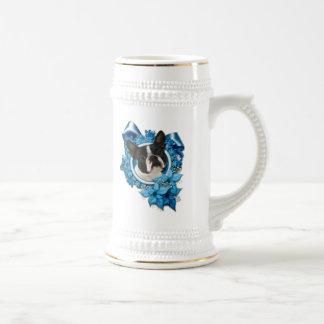 Christmas - Blue Snowflakes - Boston Terrier Mugs