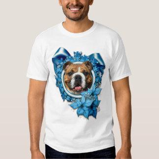 Christmas - Blue Snowflakes - Bulldog Tshirt