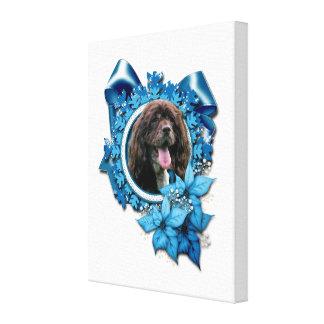 Christmas - Blue Snowflakes - Cocker Spaniel Stretched Canvas Prints