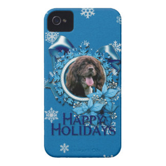 Christmas - Blue Snowflakes - Cocker Spaniel Case-Mate iPhone 4 Case