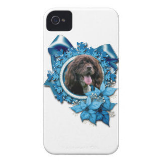Christmas - Blue Snowflakes - Cocker Spaniel iPhone 4 Covers