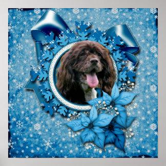 Christmas - Blue Snowflakes - Cocker Spaniel Poster