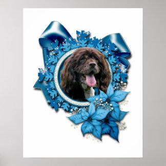 Christmas - Blue Snowflakes - Cocker Spaniel Posters