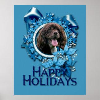 Christmas - Blue Snowflakes - Cocker Spaniel Print