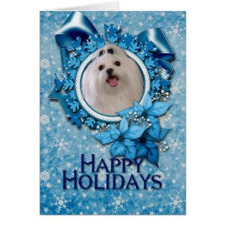 Christmas - Blue Snowflakes - Maltese Card
