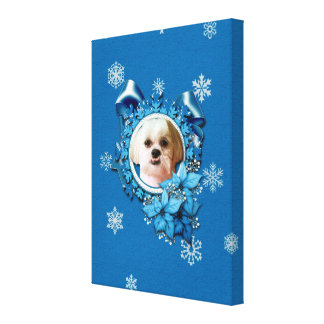 Christmas - Blue Snowflakes - Shih Tzu - Williams Stretched Canvas Print