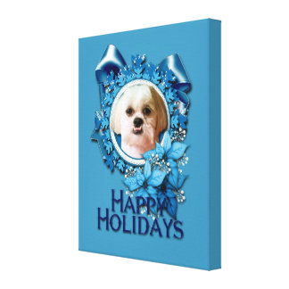 Christmas - Blue Snowflakes - Shih Tzu - Williams Gallery Wrapped Canvas