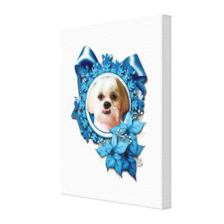 Christmas - Blue Snowflakes - Shih Tzu - Williams Gallery Wrap Canvas