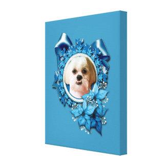 Christmas - Blue Snowflakes - Shih Tzu - Williams Canvas Print