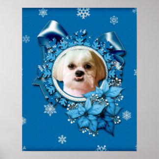 Christmas - Blue Snowflakes - Shih Tzu - Williams Poster