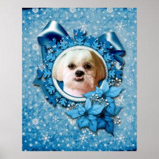 Christmas - Blue Snowflakes - Shih Tzu - Williams Posters