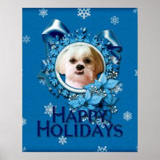 Christmas - Blue Snowflakes - Shih Tzu - Williams Print