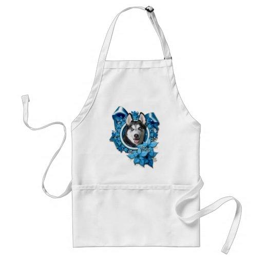 Christmas - Blue Snowflakes - Siberian Husky Apron