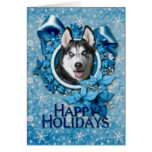 Christmas - Blue Snowflakes - Siberian Husky Greeting Card