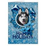 Christmas - Blue Snowflakes - Siberian Husky Cards