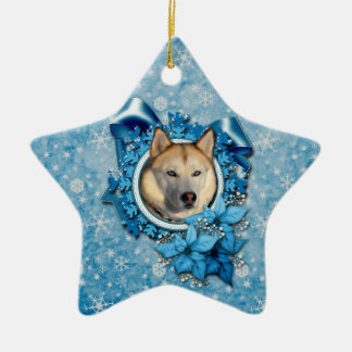 Christmas - Blue Snowflakes - Siberian Husky Christmas Ornament