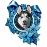 Christmas - Blue Snowflakes - Siberian Husky Photo Cut Out