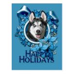 Christmas - Blue Snowflakes - Siberian Husky Post Cards