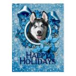 Christmas - Blue Snowflakes - Siberian Husky Postcards
