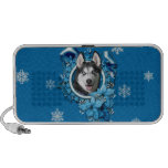 Christmas - Blue Snowflakes - Siberian Husky Laptop Speaker