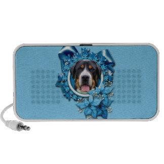 Christmas - Blue Snowflakes - Swiss Mountain Dog Travel Speaker