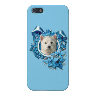 Christmas - Blue Snowflakes -West Highland Terrier iPhone 5/5S Cover