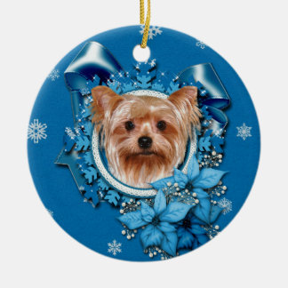 Christmas - Blue Snowflakes - Yorkshire Terrier Christmas Ornament