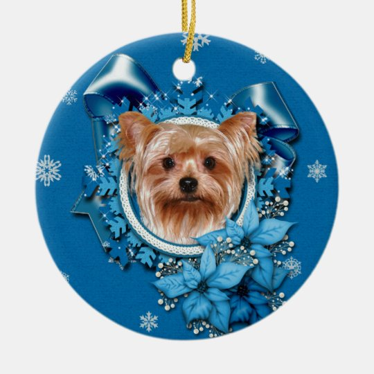 Christmas - Blue Snowflakes - Yorkshire Terrier Christmas