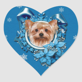 Christmas - Blue Snowflakes - Yorkshire Terrier Heart Sticker