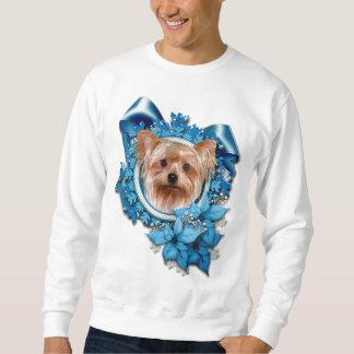 Christmas - Blue Snowflakes - Yorkshire Terrier Sweatshirt