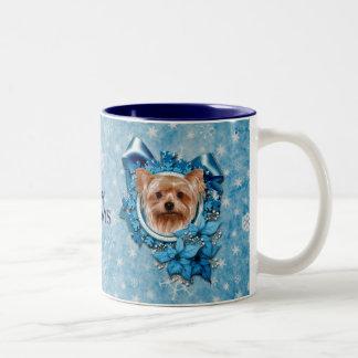 Christmas - Blue Snowflakes - Yorkshire Terrier Two-Tone Coffee Mug
