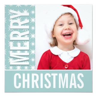 Christmas Blue & White Stars Holiday Photo Card 13 Cm X 13 Cm Square Invitation Card