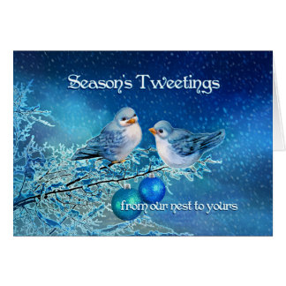 Christmas Bluebirds Tweeting in a Snowy Tree Card