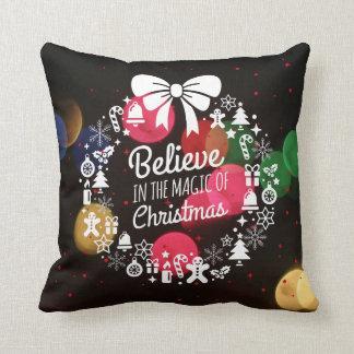 Christmas Bokeh Holiday Wreath Believe Cushion