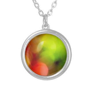 Christmas bokeh round pendant necklace