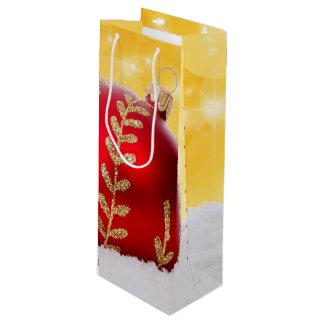 Christmas Bokeh Snow Christmas Ball Wine Gift Bag