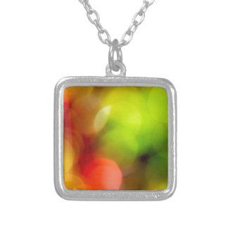 Christmas bokeh square pendant necklace