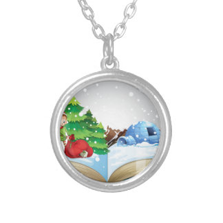 Christmas book round pendant necklace