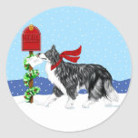 Christmas Border Collie Mail Round Stickers