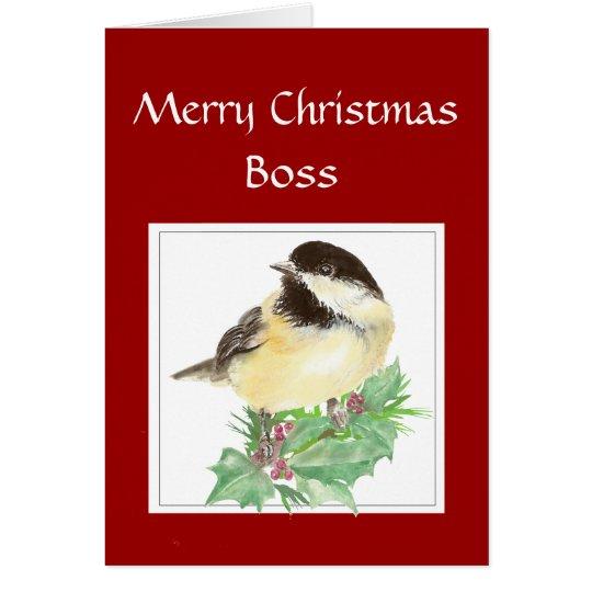 Christmas, Boss, From Group Chickadee Bird Card