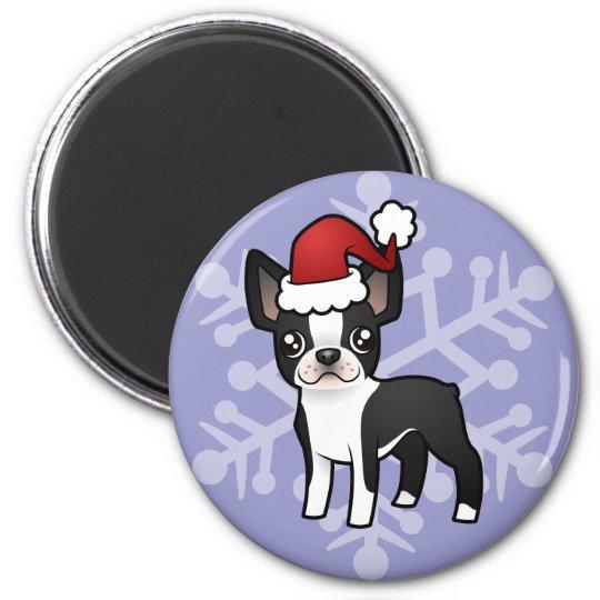 Christmas Boston Terrier 6 Cm Round Magnet