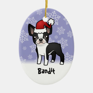 Christmas Boston Terrier (add your pets name) Ceramic Oval Decoration