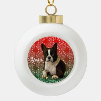 Christmas Boston Terrier Ceramic Ball Christmas Ornament