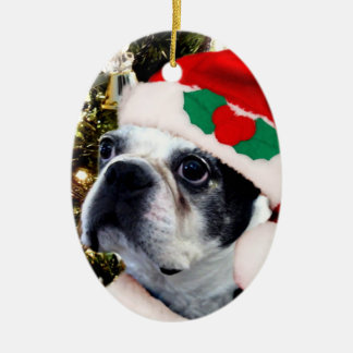 Christmas boston terrier ceramic oval decoration