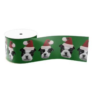 """Christmas Boston Terrier Green 3"""" grosgrain ribbon"""