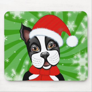 Christmas Boston Terrier Mouse Pads