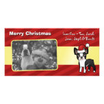 Christmas Boston Terrier Photo Greeting Card
