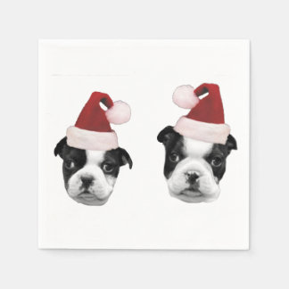 Christmas Boston Terrier puppies Disposable Serviette