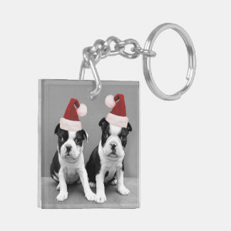 Christmas Boston Terrier puppies Double-Sided Square Acrylic Key Ring